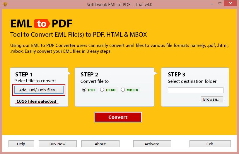 Credilla EML to PDF Tool full screenshot