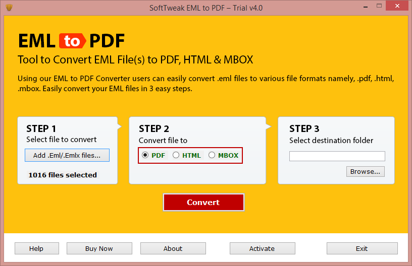 EML File Conversion to PDF full screenshot