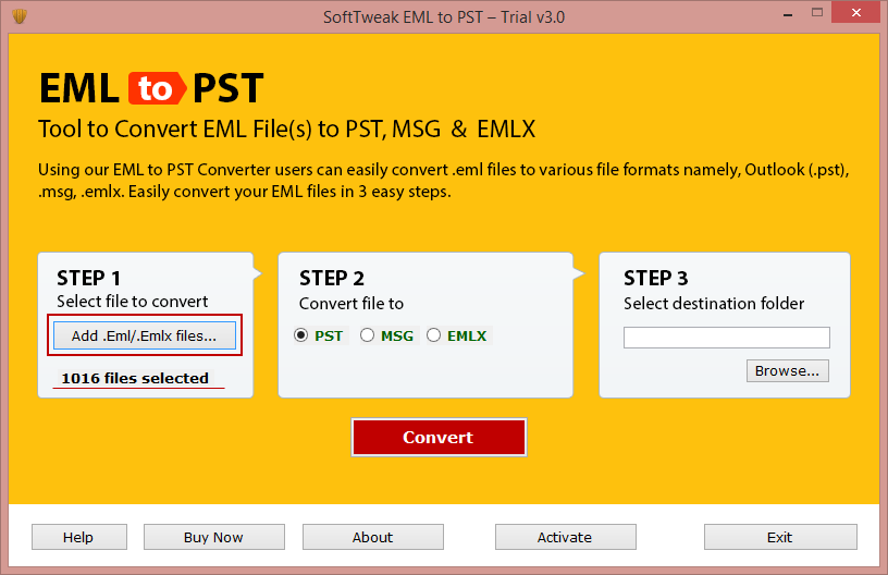 Import EML to Outlook full screenshot