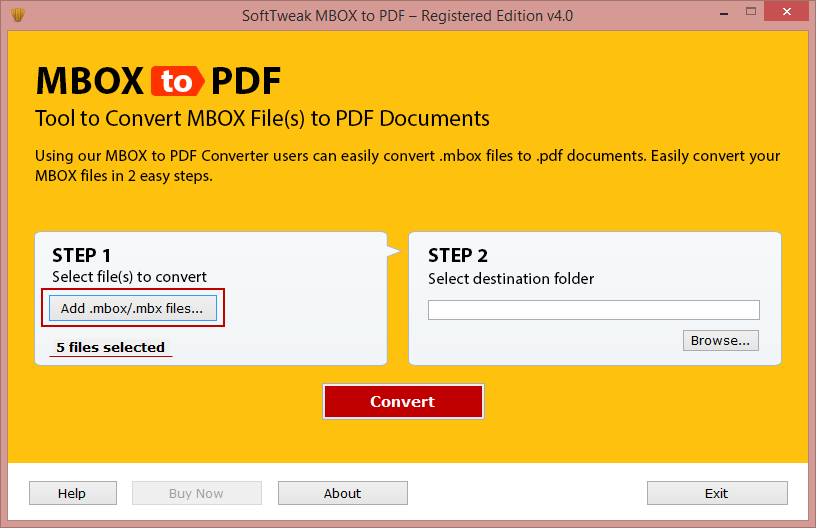 Change MBOX file to Adobe PDF full screenshot