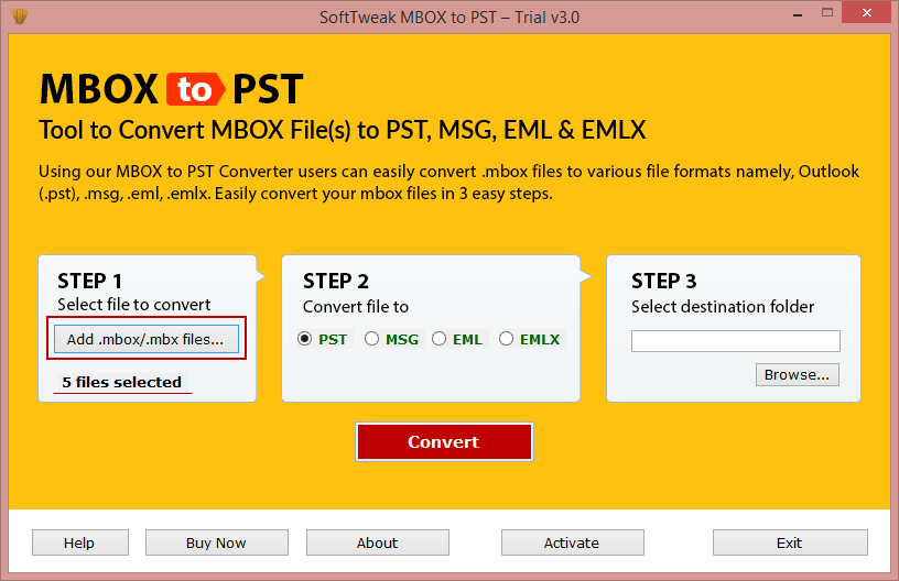 Export email from MBOX to PST format 1.4
