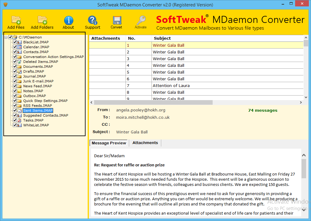 MDaemon Import to Outlook full screenshot