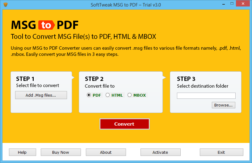 MSG File Converter to PDF full screenshot