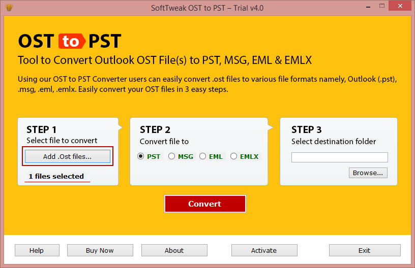 OST mailbox to PST file format 2.0.1