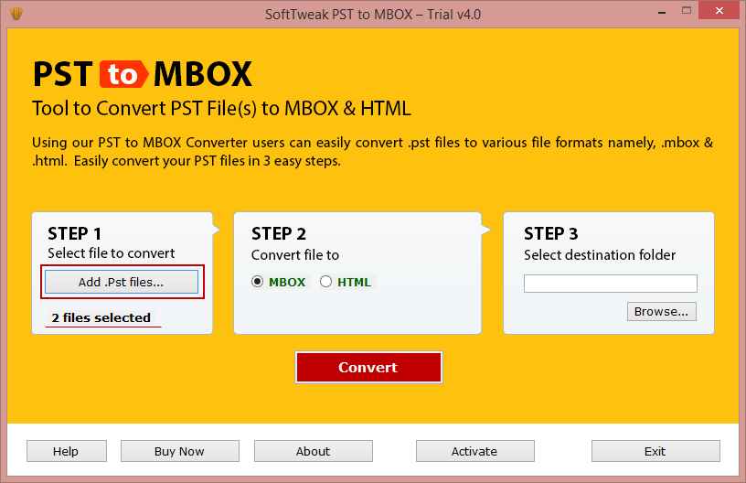 Credilla PST to MBOX Converter full screenshot