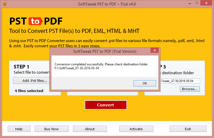 Migrate Outlook PST files to Adobe PDF full screenshot
